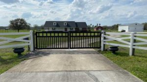 black residential steel custom gate