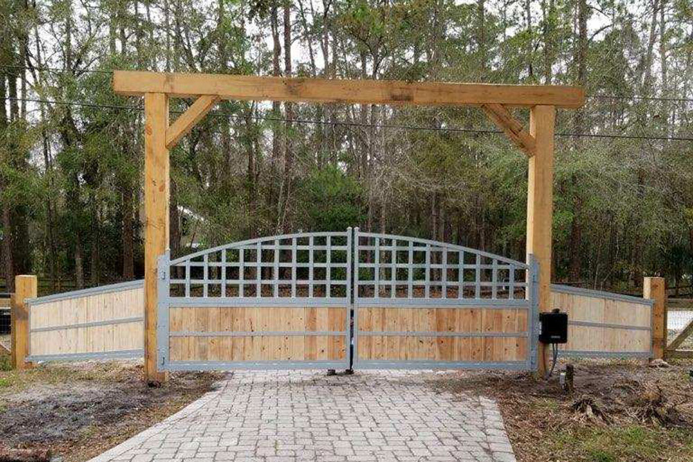 wood custom gate with access control